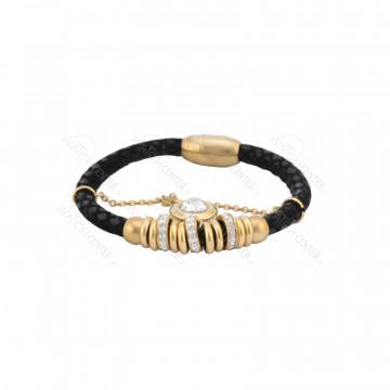 دستبند زنانه چرمی مشکی طلایی