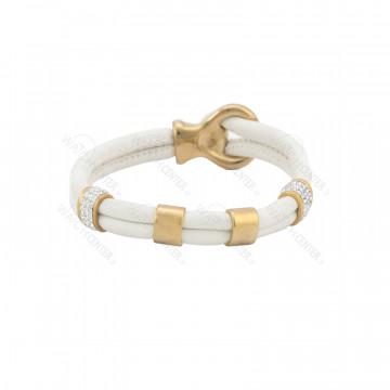 دستبند زنانه چرمی سفید طلایی
