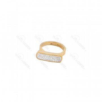 انگشتر زنانه نگین سفید استیل طلایی سایز حلقه انگشتر-سایز ۷